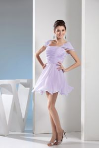 Ruching and Cap Sleeves Lilac Square Mini-length Dama Dress