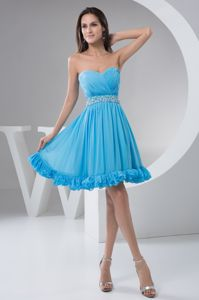Aqua Blue Ruched and Beaded Sweetheart A-line Prom Dama Dress