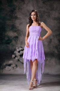 Lavender Strapless High Low Ruched Quinceanera Damas Dress
