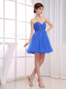 Sweetheart Ruches and Beading A-Line Blue Party Dama Dress