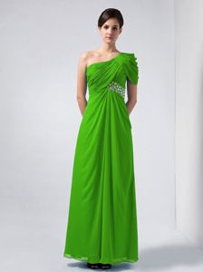 Beading and Ruches Column One Shoulder Dama Dress in Green