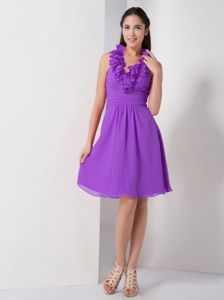 Knee-length Purple Halter Chiffon A-line Dama Dress Ruched