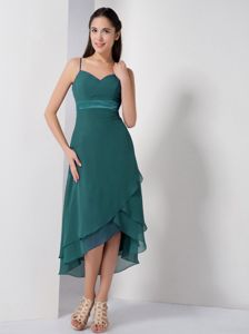 High-low Turquoise Dresses for Damas with Spaghetti Straps
