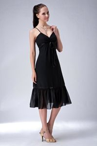 Tea-length Column Black Straps Ruched Chiffon Dama Dresses