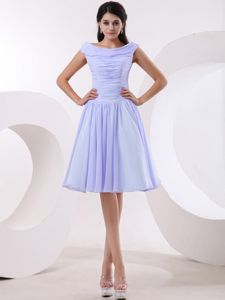 Lilac Short Bateau Dresses for Damas With Ruching for 2014