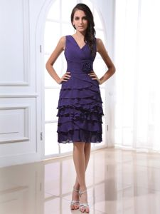 Ruffled Layers Purple Chiffon Dresses for Dama With V-neck