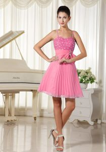 Watermelon Beaded Spaghetti Straps Bowknot Dress for Damas