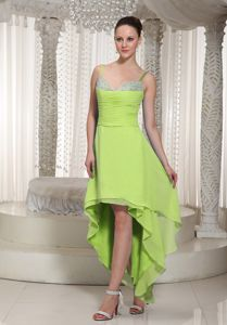 High-low Beaded Yellow Green Layers Dama Dress With Straps