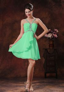 Short V-neck Green Beaded Dama Dress for Quinceanera 2014