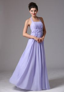 Beaded Scoop Lavender Prom Dresses for Dama With Ruchings