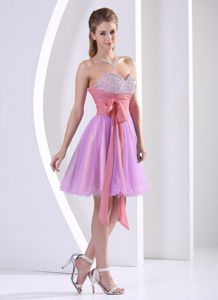 Beaded Knee-length Sash Sweetheart Multi-color Dama Dress