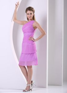 Short One Shoulder Beaded Chiffon Dama Dresses in Lavender