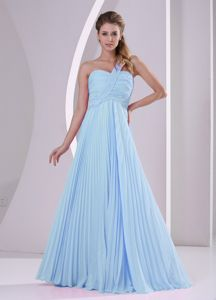 Pleated Baby Blue One Shoulder Damas 15 Dresses for Damas
