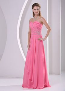 Watermelon Beaded Chiffon Quince Dama Dresses with Ruching