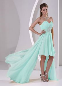 Beaded High-low Apple Green Sweetheart Quince Dama Dresses