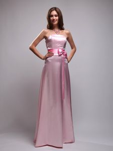 Taffeta Baby Pink Beads Bowknot Dama Dress for Quinceanera