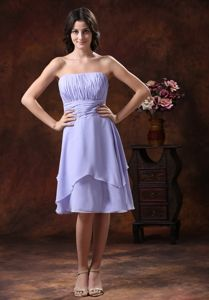 Short Lilac Strapless Pleated Dama Dresses for Quince 2013