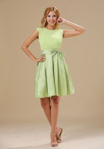 Yellow Green Scoop Short Bowknot Dama Quinceanera Dresses