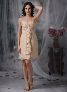 Ruffled Column Champagne Short Sweetheart Ruche Dama Dress