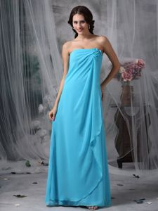 Chiffon Empire Baby Blue Dama Dress with Hand Made Flowers