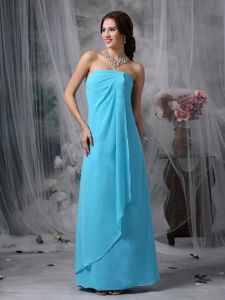 Baby Blue Chiffon Empire Strapless Dama Dresses under 150