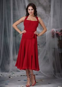 Tea-length Wine Red Chiffon Halter Dama Dress with Ruching