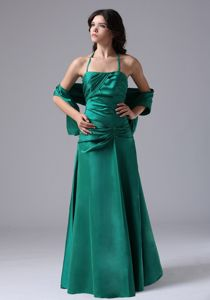 Halter Taffeta Ruched Dark Green Damas Dresses for Quince