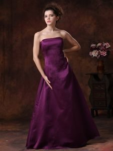 Purple Column Taffeta Strapless Cheap Party Damas Dresses