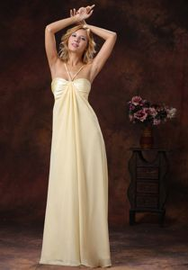 Ruched Light Yellow Spaghetti Straps Prom Dresses for Dama