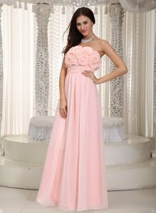 Hand Made Flowers Baby Pink Empire Damas Dress for Quinces