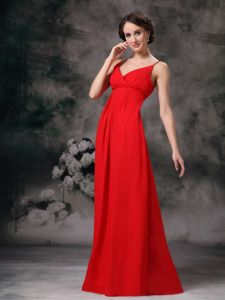 Chiffon Red Straps Empire Formal Dresses for Dama on Sale
