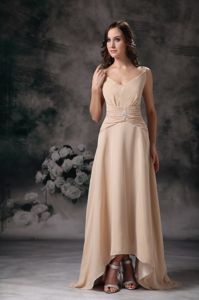 Beaded Column Champagne Dama Dresses with Spaghetti Straps
