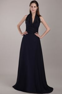 Brush Train Navy Blue Halter Ruche Cocktail Dress for Dama