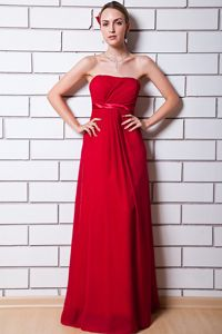 Wine Red Strapless Empire Chiffon Dama Dress with Ruchings