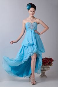 Baby Blue High-low Chiffon Sweetheart Party Damas Dresses