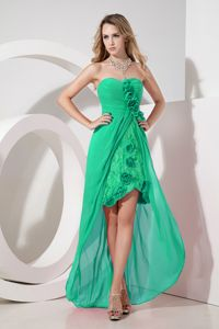High-low Hand Made Flower Green Lace Embroidery Dama Dress