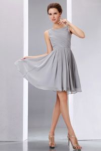 Scoop Knee-length Grey Chiffon Dama Quinces Dresses Ruched