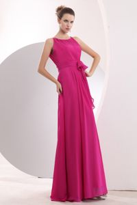 Bateau Hot Pink Chiffon Empire Prom Dress for Damas Sashed