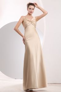 Satin Empire Champagne Straps Damas Dresses with Ruchings