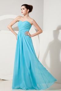 Sweetheart Baby Blue Chiffon Empire Ruched Dress for Damas