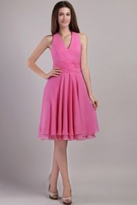Hot Pink Chiffon Empire Knee-length Dama Dress with Halter