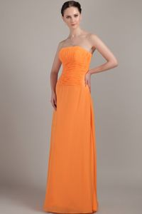 Chiffon Column Orange Prom Dresses for Dama with Ruchings