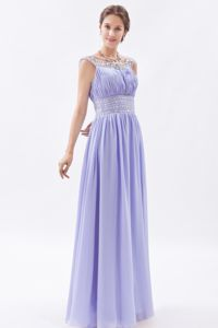 Lilac Chiffon Scoop Sheath Beaded Quince Dama Dresses 2013