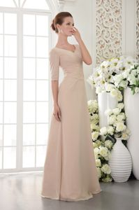 Champagne Column V-neck Chiffon 15 Dresses for Dama Beaded