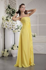 Chiffon Yellow Party Damas Dresses with Hand Made Flowers