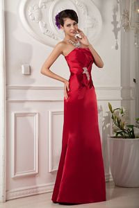 Beaded Red Satin Strapless Dama Dress for Quinceanera 2014