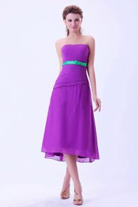 Column Belt Tea-length Chiffon Party Damas Dress in Purple