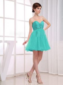 Aqua Blue Sweetheart Beaded Short Ruche A-Line Dama Dress