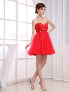 Mini-length Beaded Tulle Red Damas Dresses with Sweetheart
