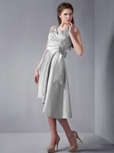 Halter Gray Asymmetrical Hem A-line Prom Dama Dress Ruched